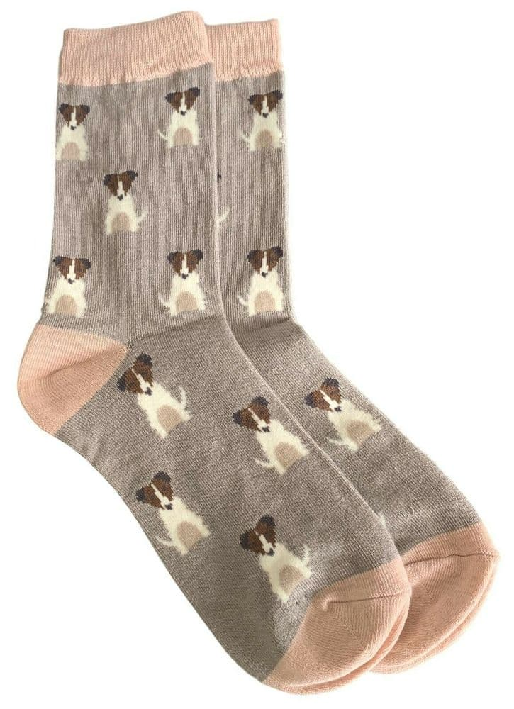 Jack Russell Socks Ladies Grey Pink Cute Dogs Terrier Dog Bamboo Cotton Blend